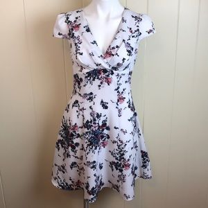 Betsey Johnson V Neck Floral Fit & Flare Dress